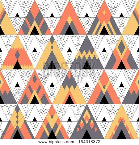 Vector seamless multicolored geometric pattern of red yellow and gray triangles and thin line decor on background. The image of gypsy and touristic tent bonfire hipster motives boho ornament.