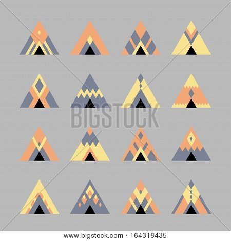 Vector set of colored icon on a gray background: front view of tent marquee in the style of boho hipster with geometric pattern.