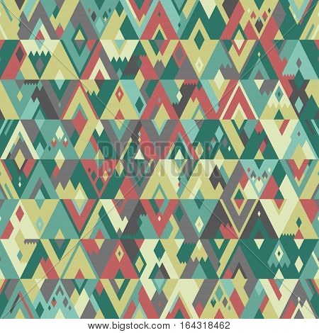 Seamless geometric vector pattern of triangles in hipster style. Pale green and red shades.