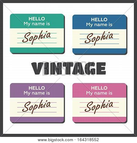 Hello My Name Is... Introduction cards vintage labels and badges set
