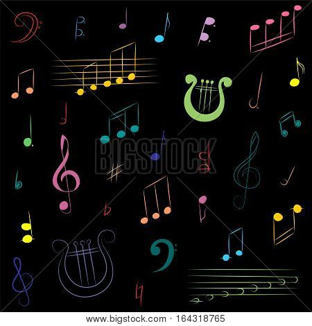 Hand Drawn Set of Music Symbols. Colorful Doodle Treble Clef, Bass Clef Notes and Lyre on Black. Vector Illustration.