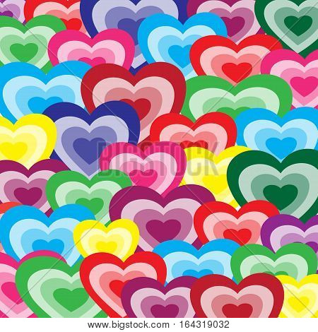 Multi-colored romantic background from hearts for a Valentine's Day card