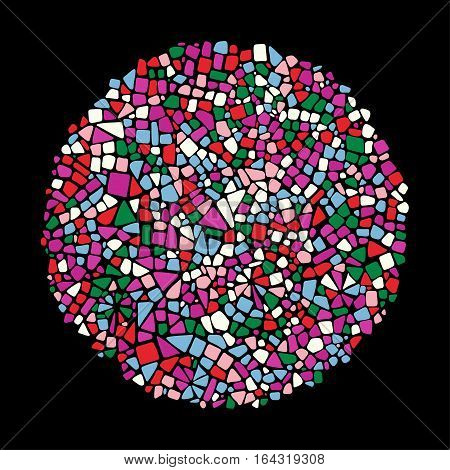 Mosaic design element in circle form on black background. Abstract Ceramic tile texture.