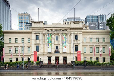 Melbourne Australia - December 27 2016: Melbourne Immigration Museum on Flinders Street. It was founded in 1998 displaying Australia's immigration history
