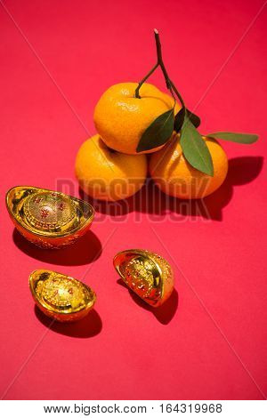 Orange for Lunar Chinese new year. Tet Holiday Concept. Text mean Rich