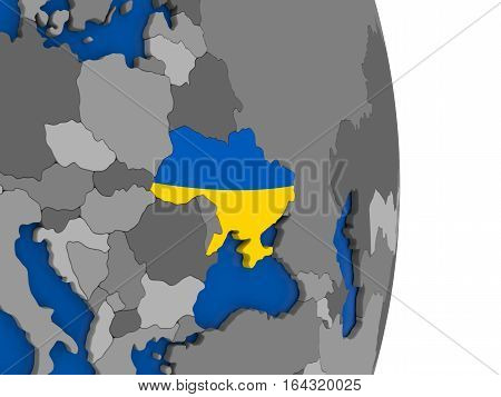 Ukraine On Globe With Flag