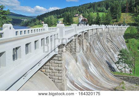 Dam of Elbe Reservoir near Spindleruv Mlyn in Krkonose National Park,Czech Republic