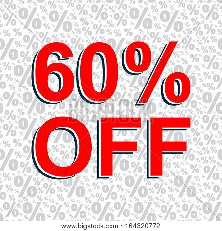 Red Sale Poster With 60 Percent Off Text. Advertising Banner