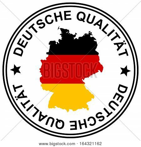 round patch German Quality with silhouette of germany (text in german)