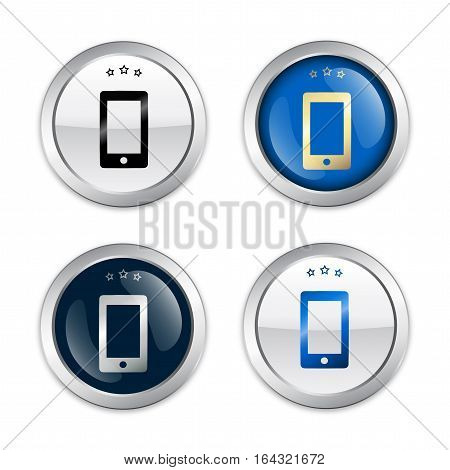 Communication seals or icons with smartphone symbol. Glossy silver seals or buttons.