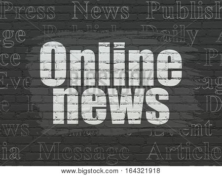 News concept: Painted white text Online News on Black Brick wall background with  Tag Cloud