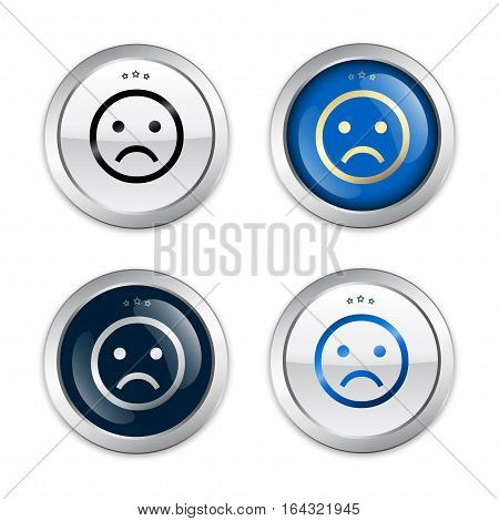 Bad choice seals or icons with negative smiley symbol. Glossy silver seals or buttons.