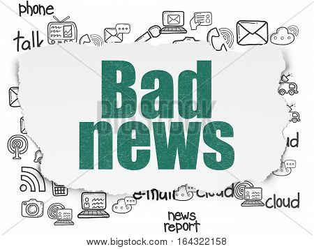 News concept: Painted green text Bad News on Torn Paper background with  Hand Drawn News Icons