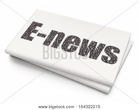 News concept: Pixelated black text E-news on Blank Newspaper background, 3D rendering