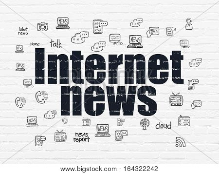 News concept: Painted black text Internet News on White Brick wall background with  Hand Drawn News Icons