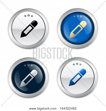Art seals or icons with brush symbol. Glossy silver seals or buttons