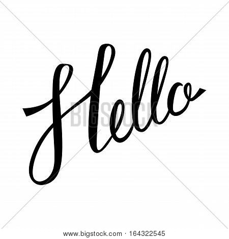 Hello hand lettering. Modern calligraphy Hello. Hello inscrition. Brush Pen lettering isolated on white background.
