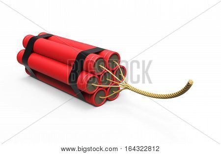 Explosive dynamite on white background 3D rendering