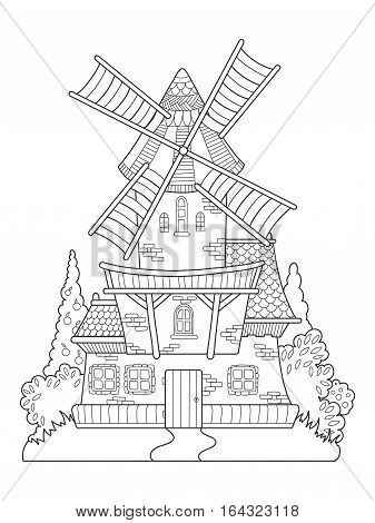 Windmill drawing coloring book for adults vector illustration. Anti-stress coloring for adult. Zentangle style. Black and white lines. Lace pattern