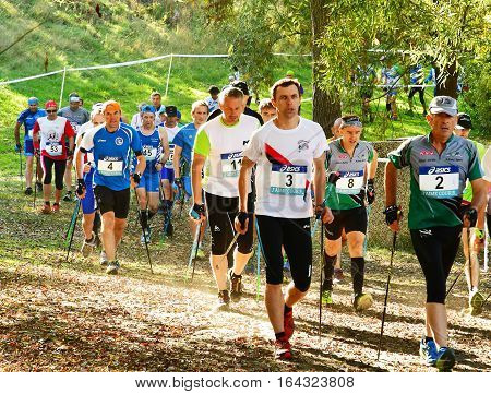 Verneuil sur Seine France - october 22 2016 : the second Championship of nordic walking of France