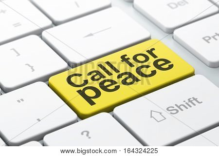 Politics concept: computer keyboard with word Call For Peace, selected focus on enter button background, 3D rendering