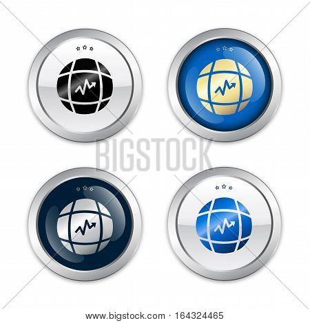 Growth seals or icons with world globe symbol. Glossy silver seals or buttons.