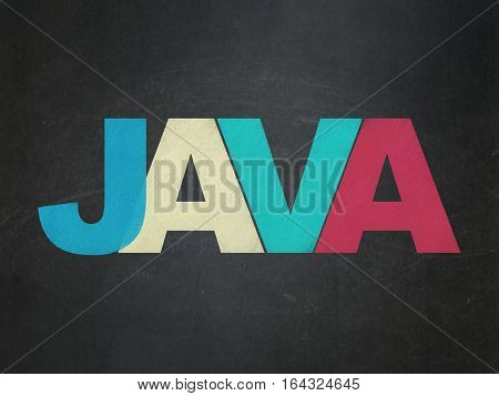 Programming concept: Painted multicolor text Java on School board background, School Board