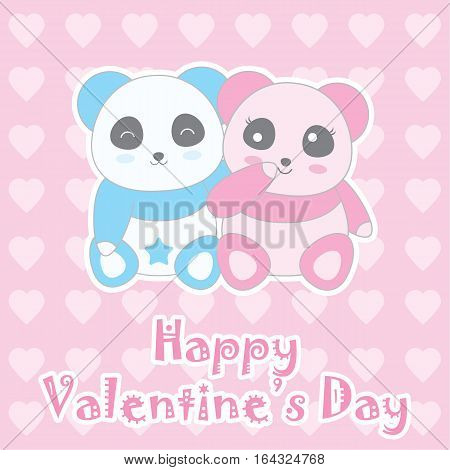 Valentine's day illustration with cute baby boy and girl panda on love background suitable for Valentine's greeting card, invitation card, and postcard