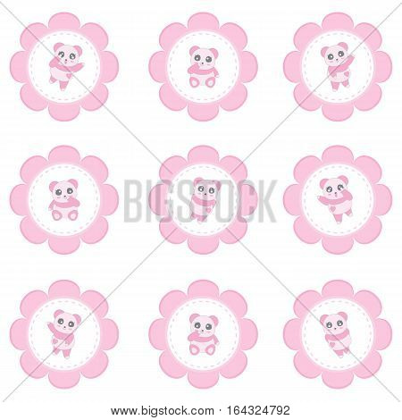 Valentine's day illustration with girl panda on pink flower frame suitable for Valentine's cupcake topper, sticker set, and clip art