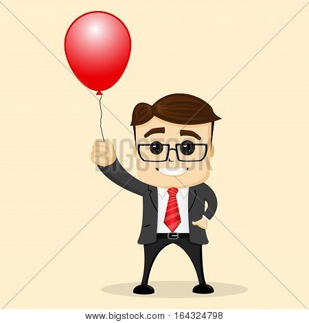 Manager character with balloon. Happy manager character keeping a balloon in hand. Flat illustration. Happy businessman holding balloons. Business success concept. concept cartoon vector illustration