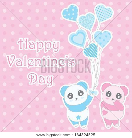 Valentine's day illustration with cute boy and girl panda bring balloons on polka dot background suitable for Valentine's greeting card, invitation card, and postcard