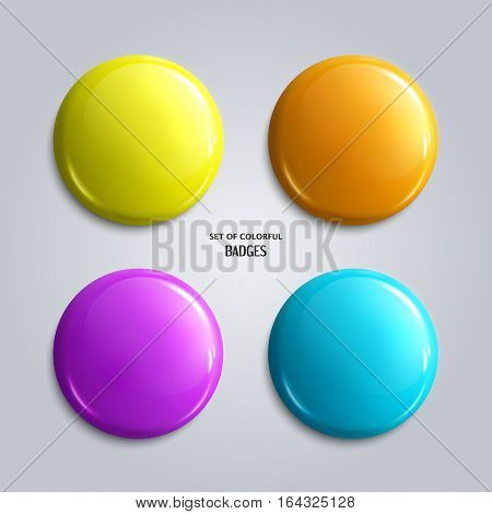 Vector set of blank, colorful glossy badges or web buttons. Four bright colors, yellow, orange, blue and purple.