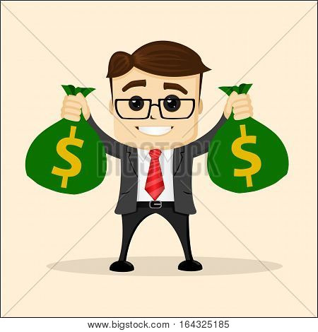 vector flat illustration. Business or manager with bag of money. Happy manager character with bag. Vector cartoon of Businessman carry huge money bag
