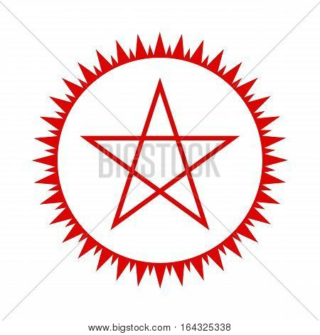Pentagram icon. Red five-pointed star in the circle of fire. Vector illustration.