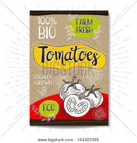 Colorful label in sketch style, food, spices, cardboard texture background. Tomato Vegetables. Bio, eco, farm, fresh. locally grown. Hand drawn vector illustration