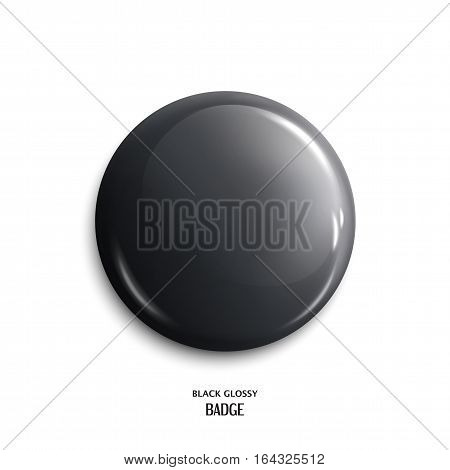 Vector blank, black glossy badge or web button.