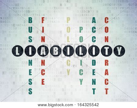 Insurance concept: Painted black word Liability in solving Crossword Puzzle on Digital Data Paper background