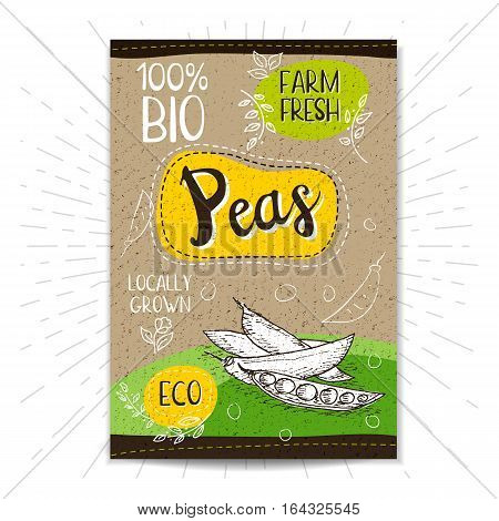 Colorful label in sketch style, food, spices, cardboard textured background. Peas Vegetables. Bio, eco, farm, fresh. locally grown. Hand drawn vector illustration