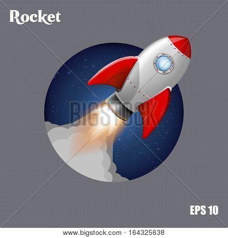 Vector illustration. Flying rocket in the cosmos.
