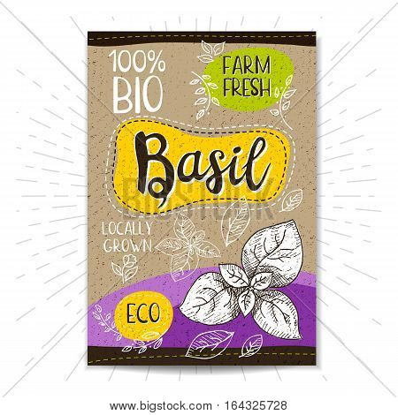 Colorful label in sketch style, food, spices, cardboard textured background. Basil Vegetables. Bio, eco, farm, fresh. locally grown. Hand drawn vector illustration