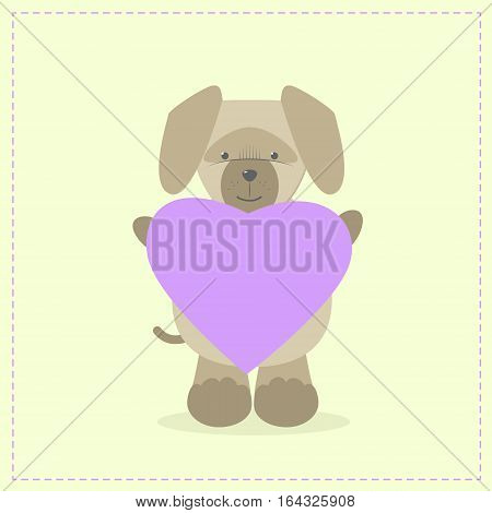 Dog holding a heart. Plush toy dog with heart. Gift. Postcard on Valentine's Day birthday Mother's Day. Vector cartoon