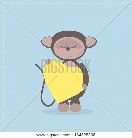 Monkey holding a heart. Plush toy monkey with heart. Gift. Postcard on Valentine's Day birthday Mother's Day. Vector cartoon