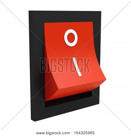 Red electric switch off position isolated on white background 3D rendering