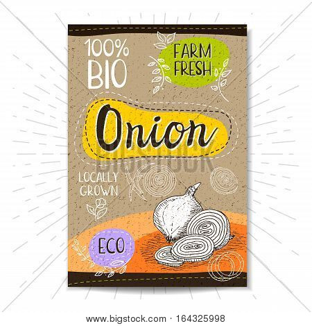 Colorful label in sketch style, food, spices, cardboard texture background. Onion Vegetables. Bio, eco, farm, fresh. locally grown. Hand drawn vector illustration