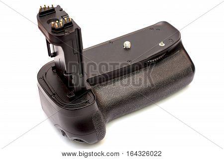 Battery grip for modern DSLR camera isolated on white background. poster