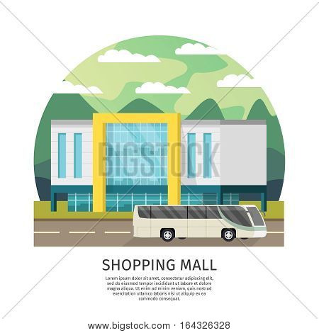 Shopping mall building round design with public transport on natural landscape background orthogonal vector illustration