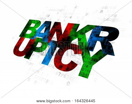 Law concept: Pixelated multicolor text Bankruptcy on Digital background