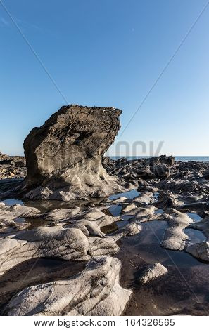Rock formation at the Pointe du Payre (Vendee, France)