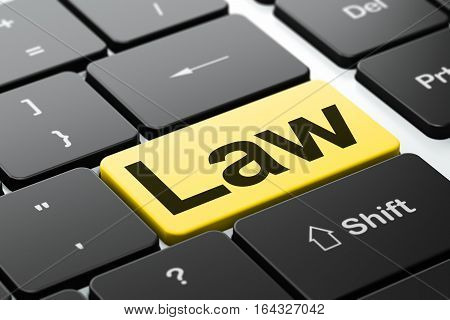 Law concept: computer keyboard with word Law, selected focus on enter button background, 3D rendering