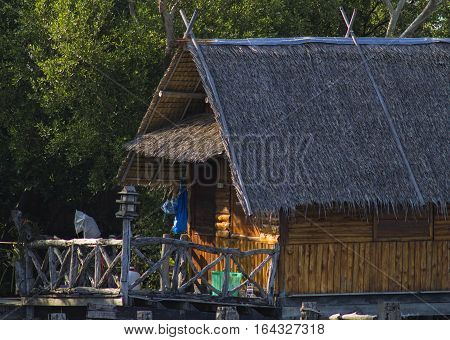 Bamboo bungalows in the resort area of Thailand